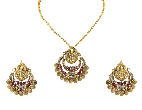 Beautiful Temple Coin Pendant Set with Laxmi Engraving PS745