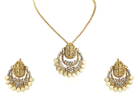 Beautiful Temple Coin Pendant Set with Laxmi Engraving PS746