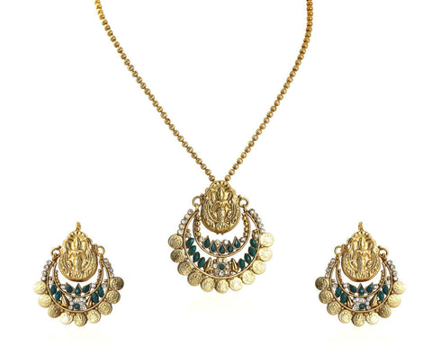 Beautiful Temple Coin Pendant Set with Laxmi Engraving PS747