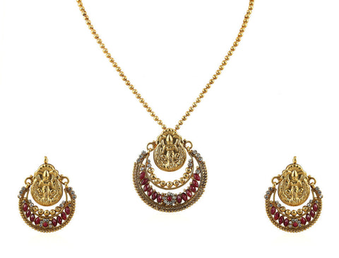 Beautiful Temple Pendant Set with Laxmi Engraving PS748
