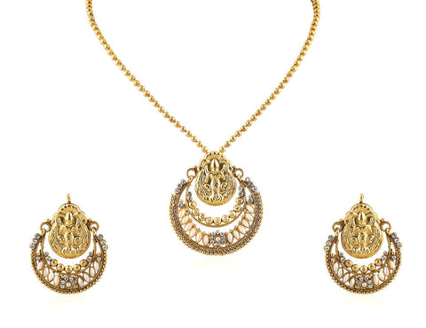 Beautiful Temple Pendant Set with Laxmi Engraving PS749