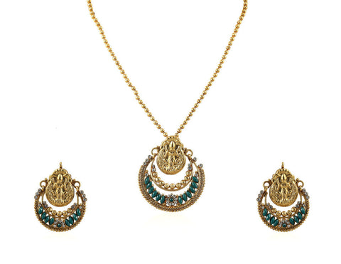 Beautiful Temple Pendant Set with Laxmi Engraving PS750
