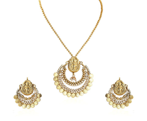 Beautiful Temple Coin Pendant Set with Laxmi Engraving PS751