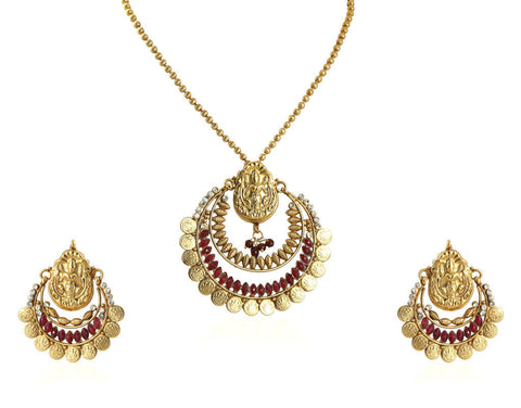 Beautiful Temple Coin Pendant Set with Laxmi Engraving PS752