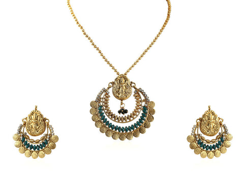 Beautiful Temple Coin Pendant Set with Laxmi Engraving PS753