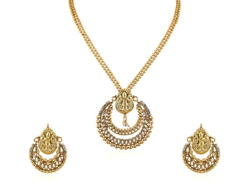 Beautiful Temple Pendant Set with Laxmi Engraving PS754