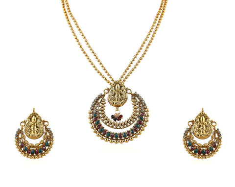 Beautiful Temple Pendant Set with Laxmi Engraving PS755
