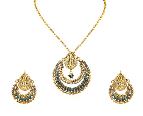 Beautiful Temple Pendant Set with Laxmi Engraving PS756