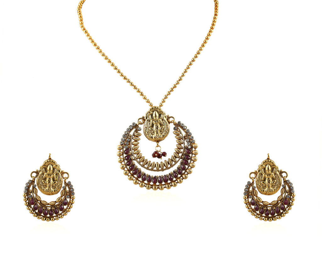 Beautiful Temple Pendant Set with Laxmi Engraving PS757