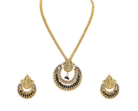 Beautiful Temple Pendant Set with Laxmi Engraving PS758