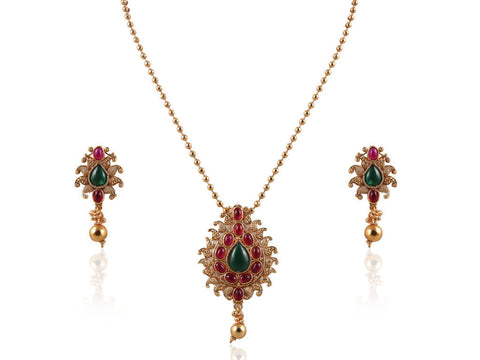 Beautiful Kemp Stone Polki Pendant Set PS759