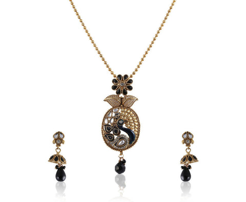 Beautiful Peacock Style Polki Pendant Set PS760
