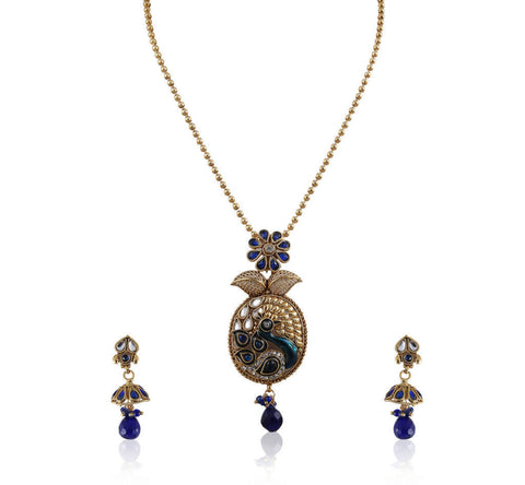 Beautiful Peacock Style Polki Pendant Set PS761