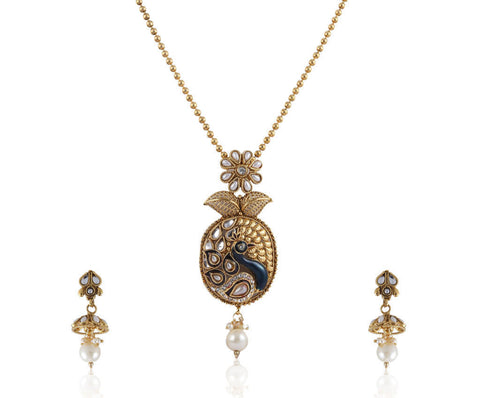 Beautiful Peacock Style Polki Pendant Set PS763
