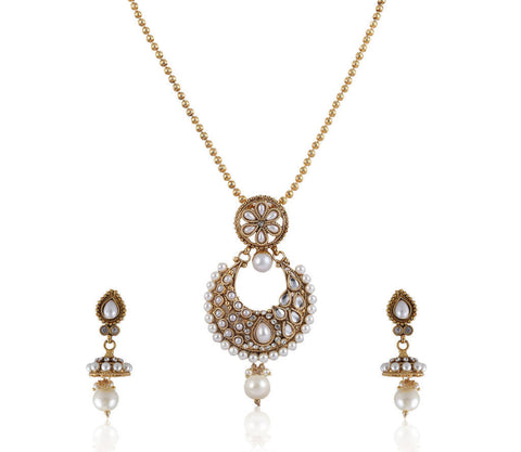 Beautiful Polki Pendant Set in White and Gold PS764