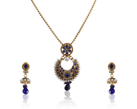 Beautiful Polki Pendant Set in Blue Stones and Golden Combination PS767