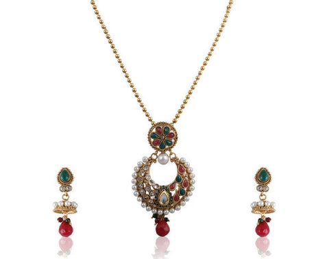 Beautiful Polki Pendant Set in Red Green Stones and Golden Combination PS768