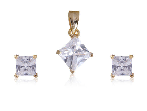 Beautiful Solitare American Diamond Pendant Set PS772