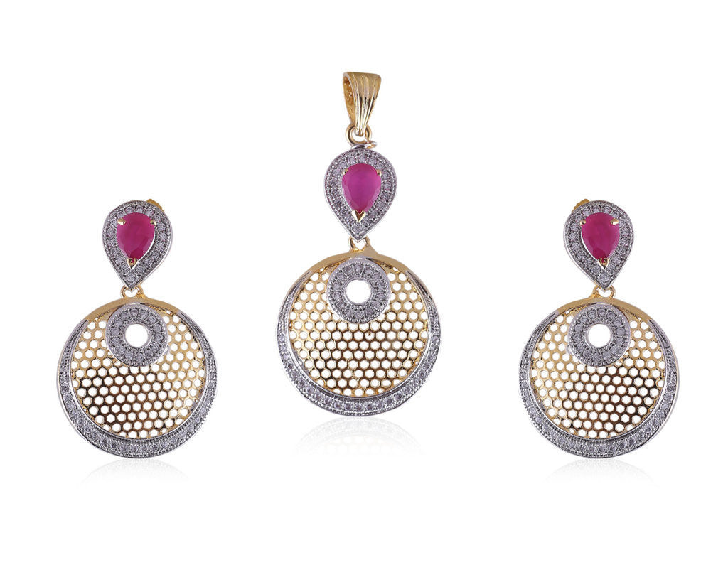 Designer American Diamond Pendant Set with faux Ruby Stones PS792