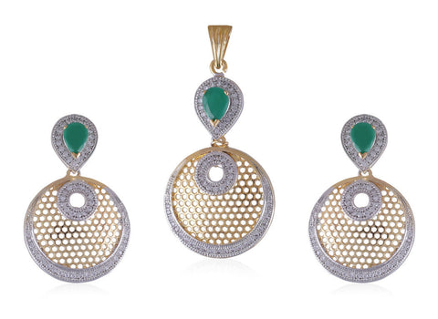 Designer American Diamond Pendant Set with faux Emerald Stones PS793
