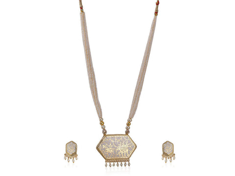 Fabulous Thewa Necklace Set in White and Gold Colour - TS72