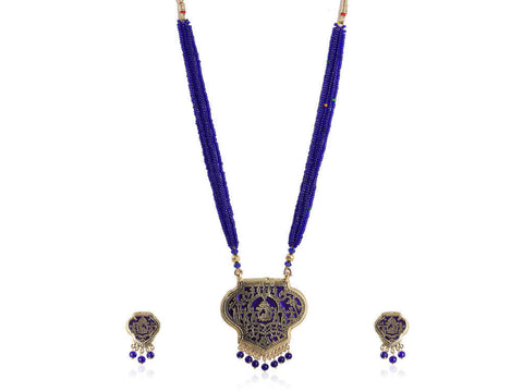 Eccentric Thewa Necklace Set in Blue and Gold Colour - TS77