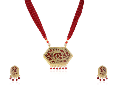 Aesthetic Thewa Necklace Set in Maroon and Gold Colour - TS93