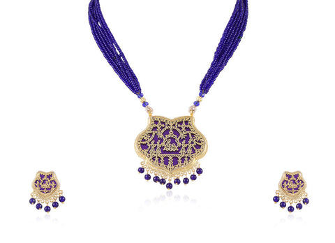 Aesthetic Thewa Necklace Set in Blue and Gold Colour - TS95