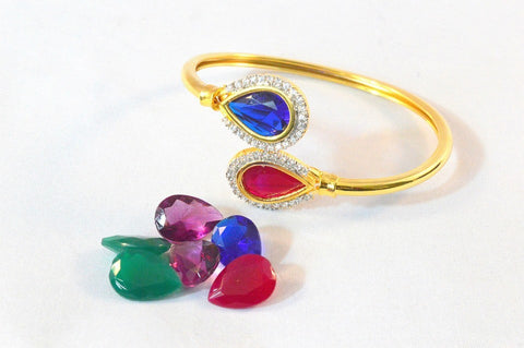 Changeable Stones Bracelet in Rose, Blue, Purple and Green Colour - BR151