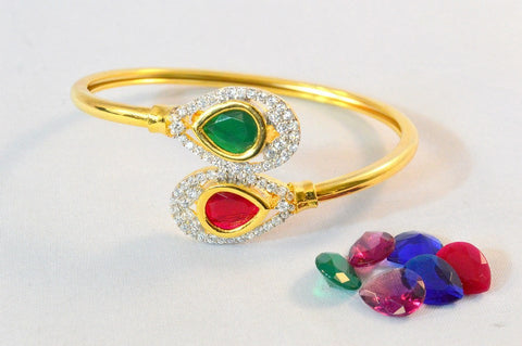 Changeable Stones Bracelet in Red, Green, Purple and Blue Colour - BR152