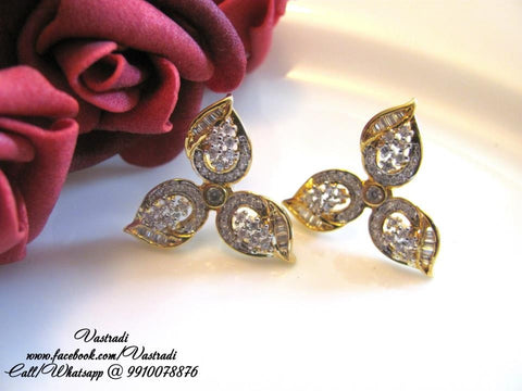 Flower Shaped American Diamond Earrings in White Colour - DI196