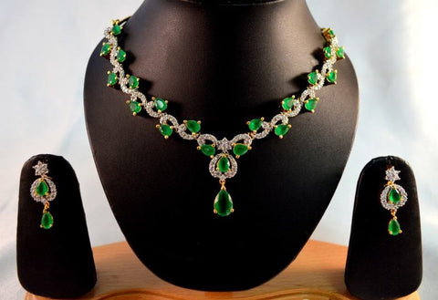 Spectacular American Diamond Necklace Set in Green and White Colour - DS88