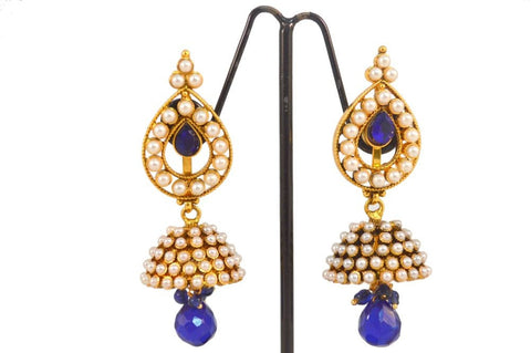 Appealing Jhumkis Polki Earrings in Blue and White Colour - PO490