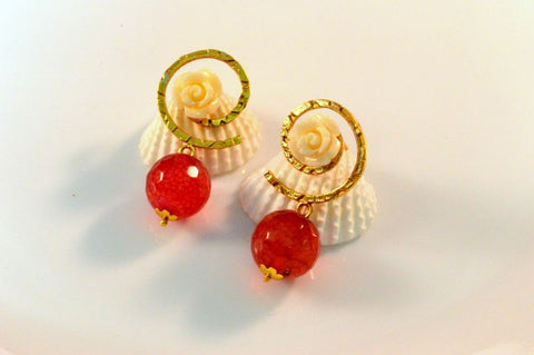 Cute Fancy & Funky Earrings in Red and White Colour - F199