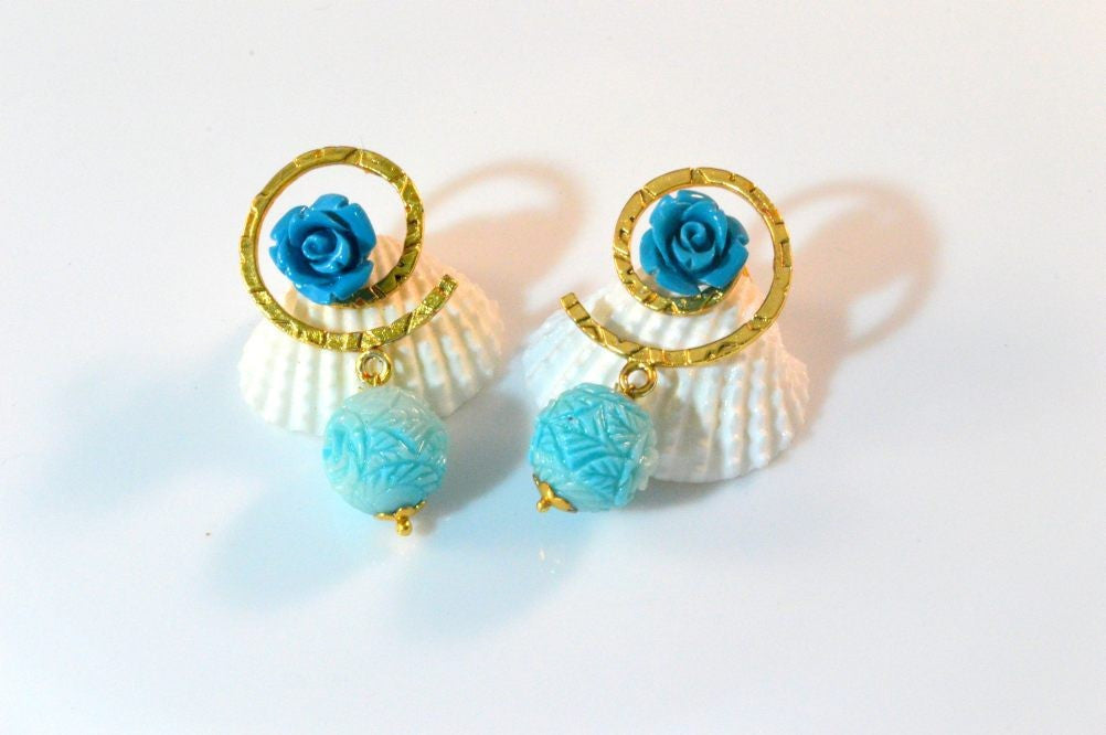 Fancy & Funky Earrings with Blue drop F201 By Vastradi Jewels