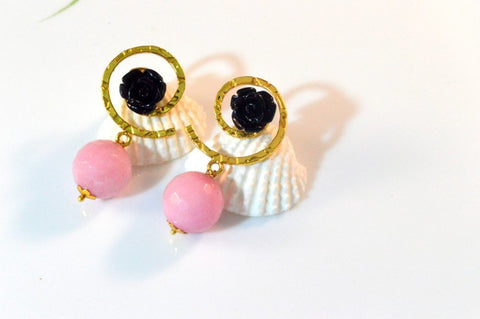 One-of-a-kind Fancy & Funky Earrings in Pink and Black Colour- F202