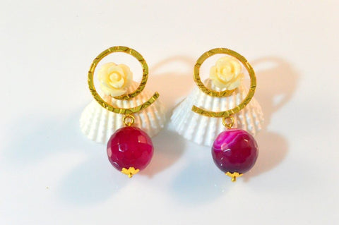 Lovely Fancy & Funky Earrings in Rose and White Colour - F204