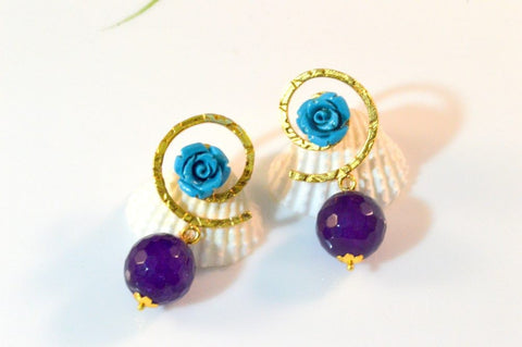 Teeny Fancy & Funky Earrings in Blue and Purple Colour - F207