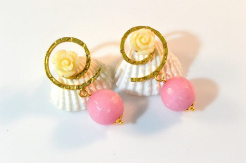 Two - Tone Fancy & Funky Earrings in Pink and White Colour - F209