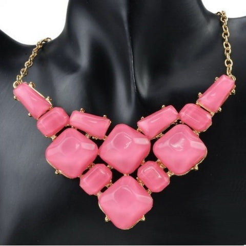 Attractive Fancy Collar Necklace Set in Pink Colour - FS36