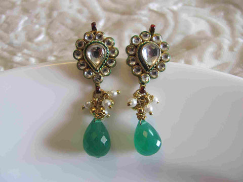 Charming Kundan Earrings in Green and White Colour - KU97