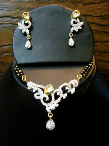 Pretty Mangalsutras Set in Black and White Colour - MS19