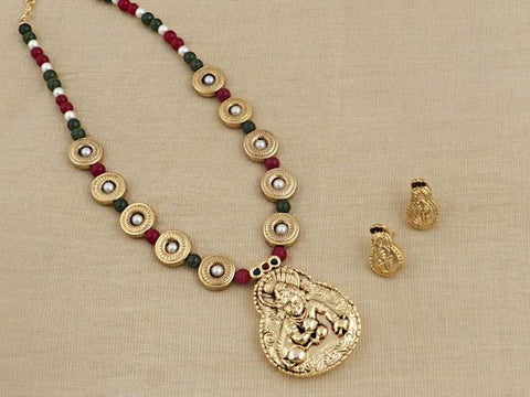 Krishna Temple Necklace Set in Maroon, Green and Gold Colour - PES46