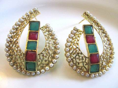 Attention Getting Polki Earrings in Red, Green and White Colour - PO290