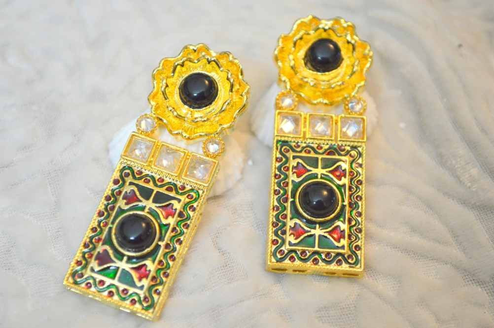 New Stylish Polki Earring with Golden finishing PO404 By Vastradi Jewels