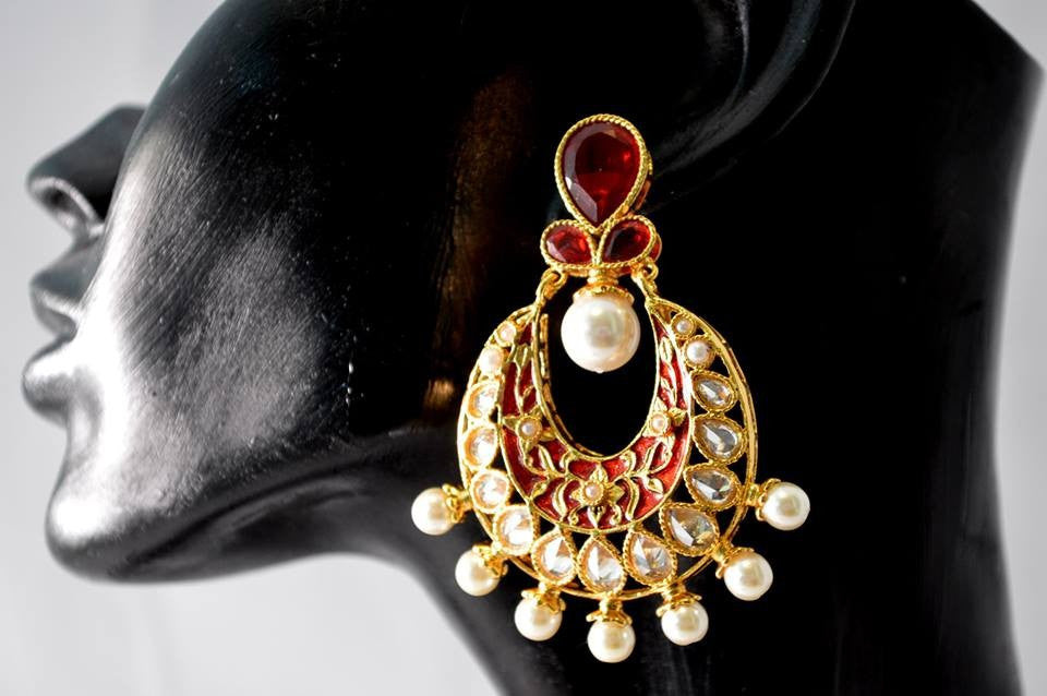 Stunning Beautiful Polki danglers.. with red & gold meena work and pearls PO455