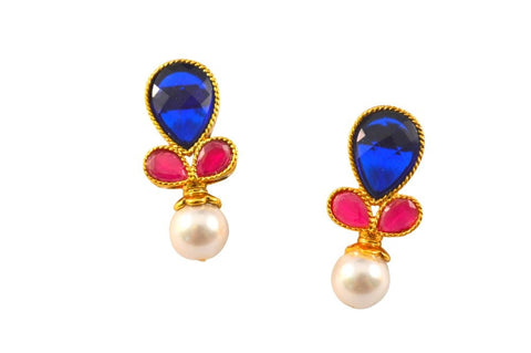 Girlish Polki Earrings in Pink, Blue and White Colour - PO481