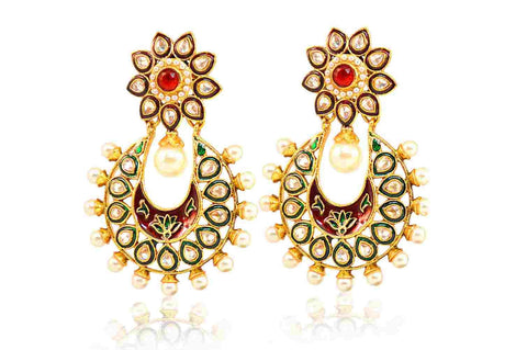 Awe-Inspiring Drop Polki Earrings in Red and White Colour - PO523