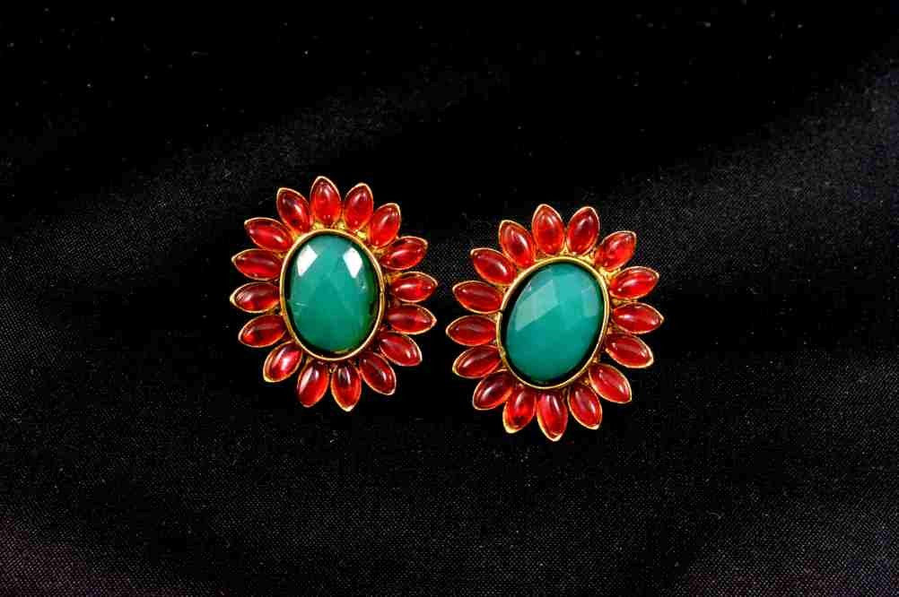 Beautiful Red & Green Polki Stud Earrings - PO550