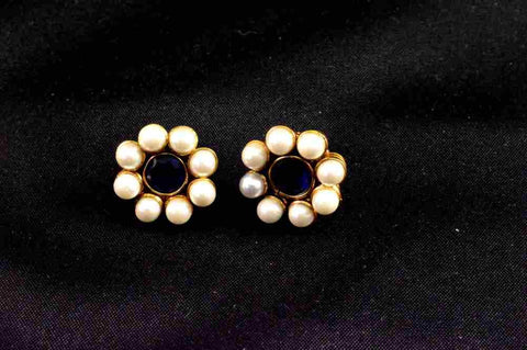 Fine Polki Earrings in Blue and White Colour - PO552